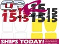 Number Pack 2 Digit - 4x Rear & 4x Side Black or Red AND Decal pack with Rear Bumper Decal White or Yellow